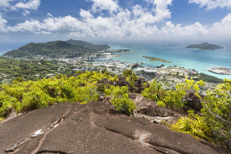 Северный взгляд Mahe, Сейшельские островы стоковые изображения rf