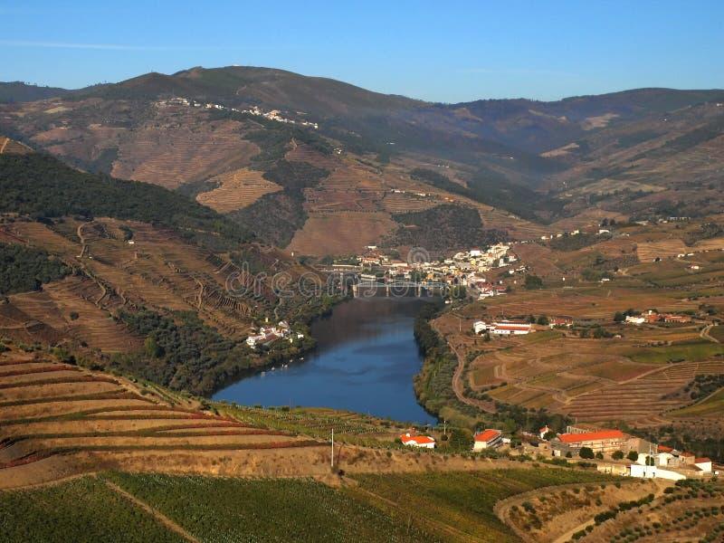 Северный ландшафт Португалии с взглядом к реке Дуэро стоковая фотография rf
