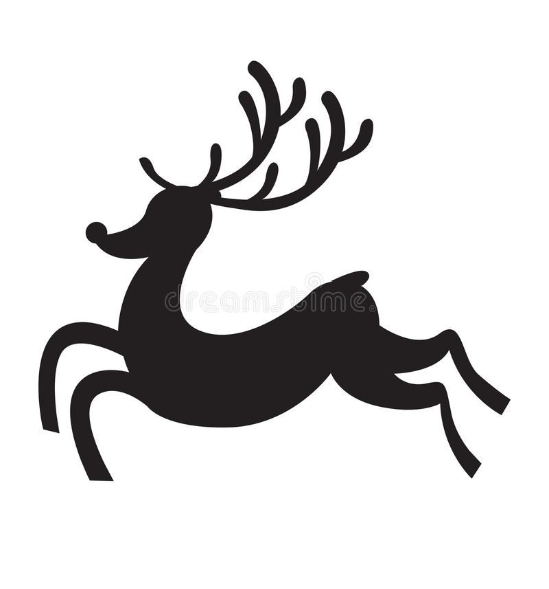 Северный олень бежит иллюстрация вектора вектора значка силуэта плоская изолированная на белизне бесплатная иллюстрация