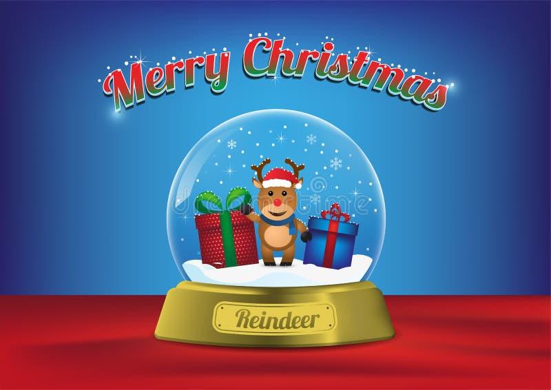 Северный олень глобуса веселого рождества с рождественской елкой иллюстрация штока