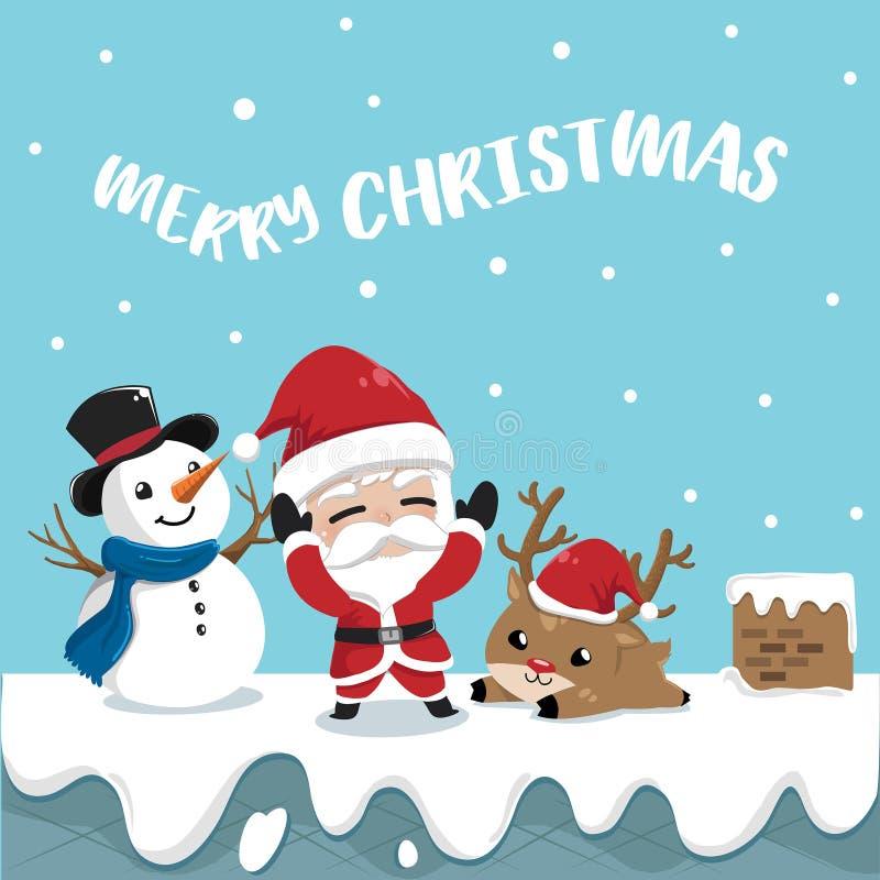 Северный олень и снеговик Санта Клауса приятельства на верхней части крыши иллюстрация вектора