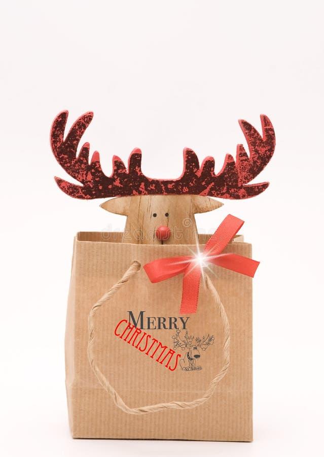 Северный олень милого рождества деревянный стоковое фото
