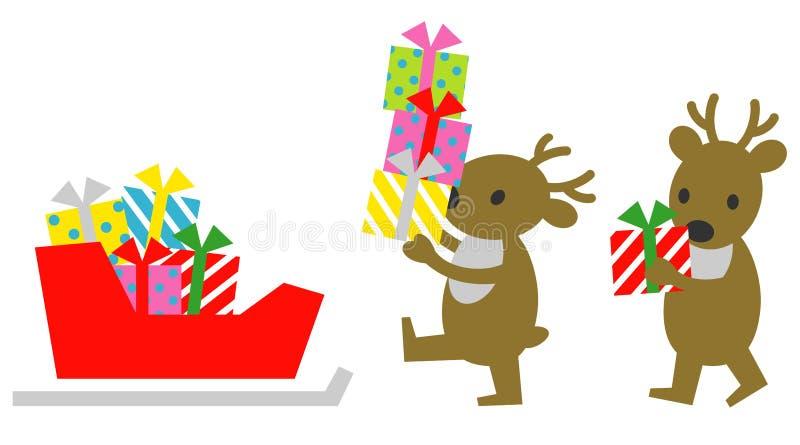 Северный олень, нагружая подарочные коробки рождества, сани иллюстрация вектора