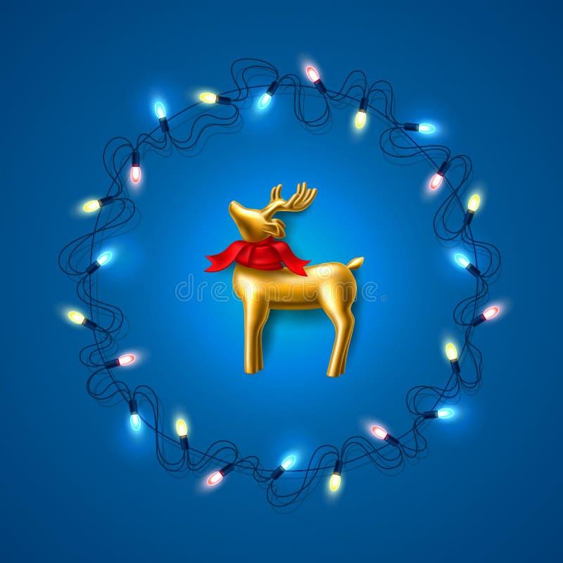Северный олень рождества вектора золотой на сини гирлянды иллюстрация штока