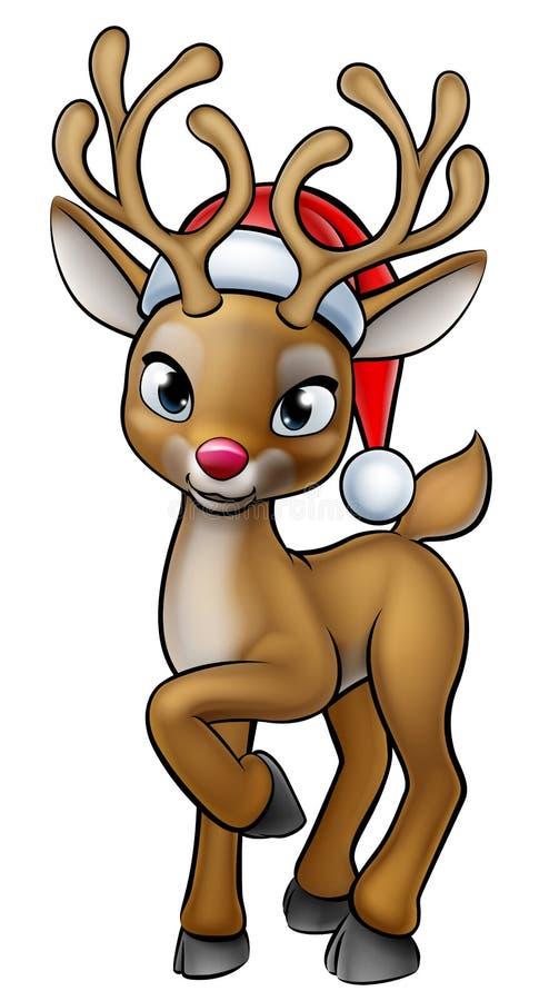 Северный олень рождества шаржа нося шляпу Санты иллюстрация вектора