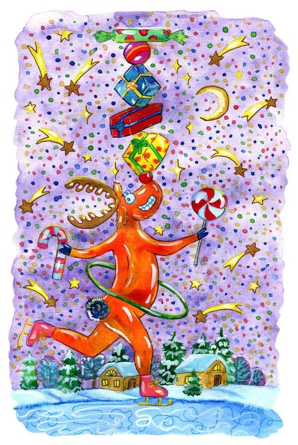 Северный олень Рудольф с подарками и конфетами иллюстрация штока