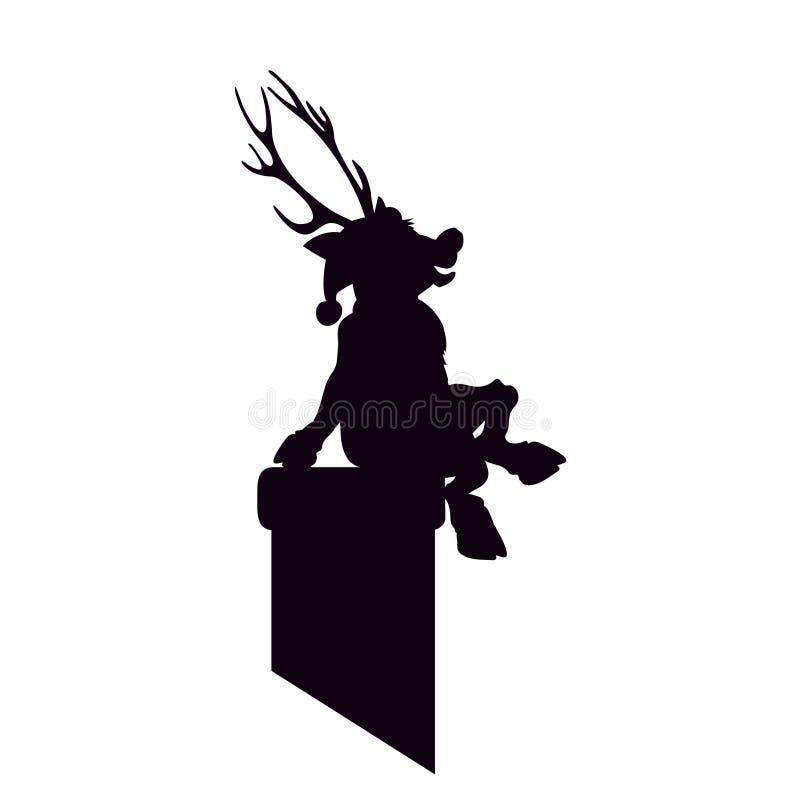 Северный олень Санта Клаус черный силуэт сидя на камине Счастливого рождества художественного произведения Олень иллюстрации вект иллюстрация вектора