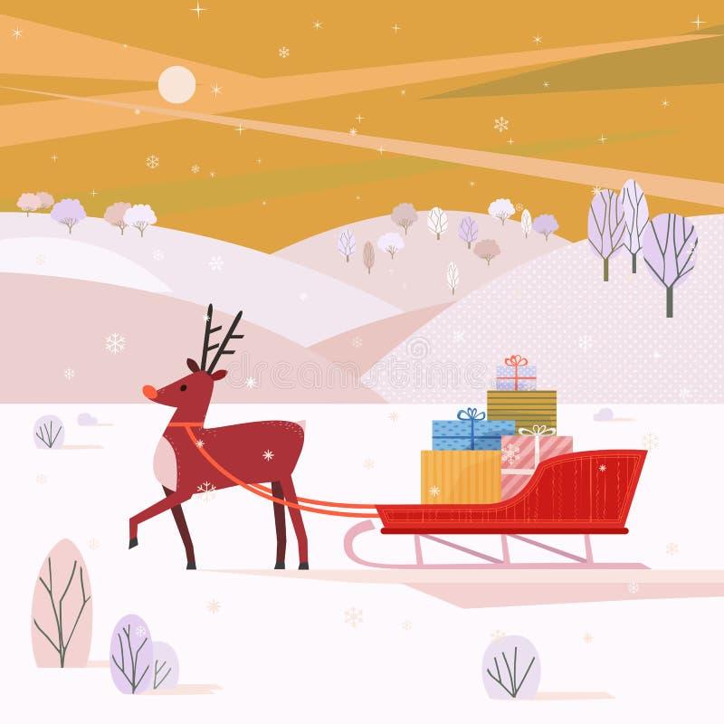 Северный олень с санями Санты бесплатная иллюстрация