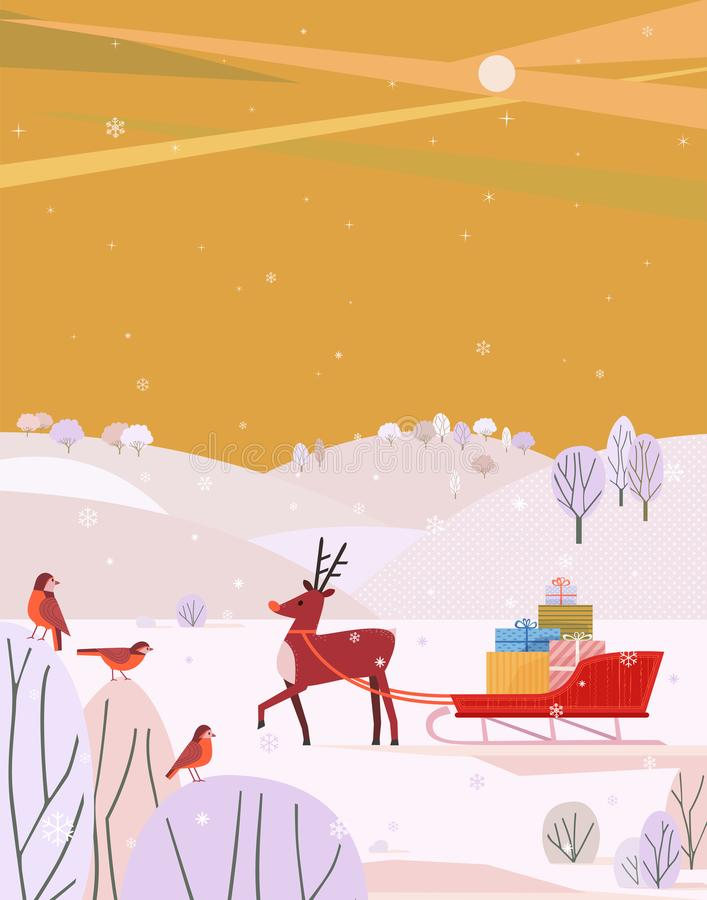 Северный олень с санями Санты иллюстрация штока