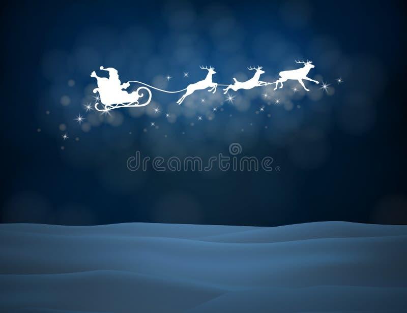 Северный олень и Санта Клаус вектора на предпосылке луны иллюстрация вектора