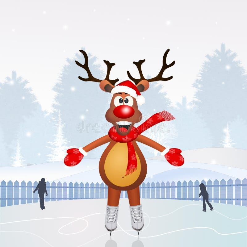 Северный олень катаясь на коньках на льде иллюстрация штока