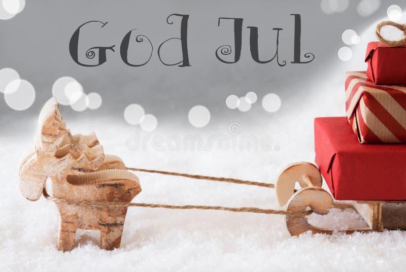 Северный олень с скелетоном, серебряной предпосылкой, богом июлем значит с Рождеством Христовым стоковая фотография