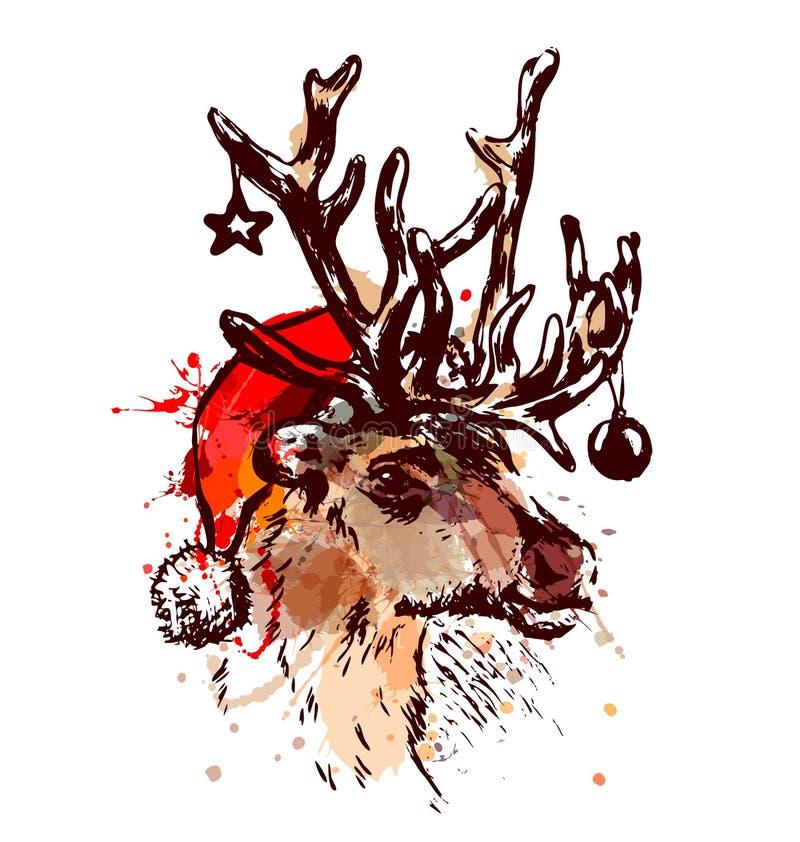 Северный олень с шляпой рождества и украшениями бесплатная иллюстрация