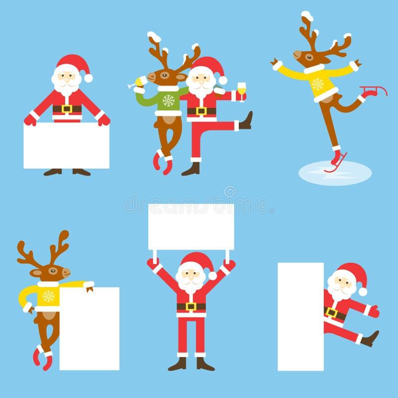 Северный олень Santa Claus и рождества шарж медведя авиатора рисует игрушечный неба смешной плоскости пилота влюбленности сердец  бесплатная иллюстрация
