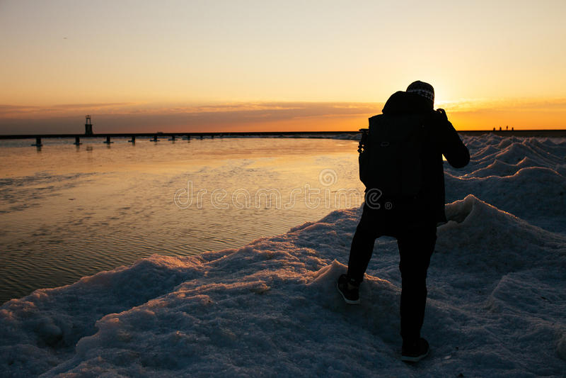 Северный фотограф пляжа бульвара стоковое изображение