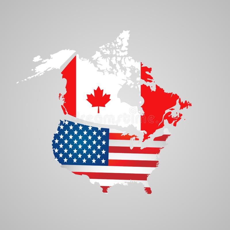 Североамериканская страна установленная с указателями карты Канада, карта США, сигнализирует иллюстрация штока