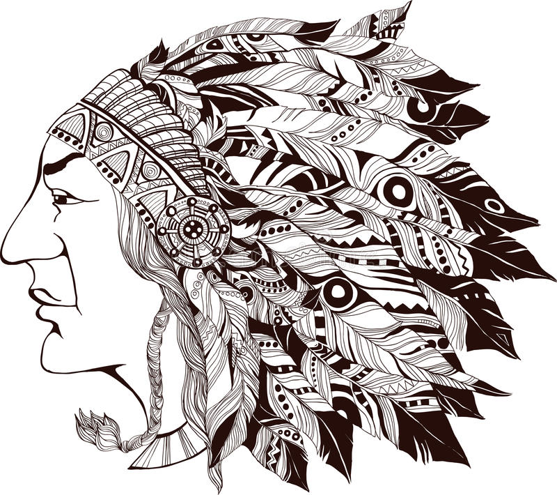 Североамериканский индийский вождь - иллюстрация стоковое изображение rf
