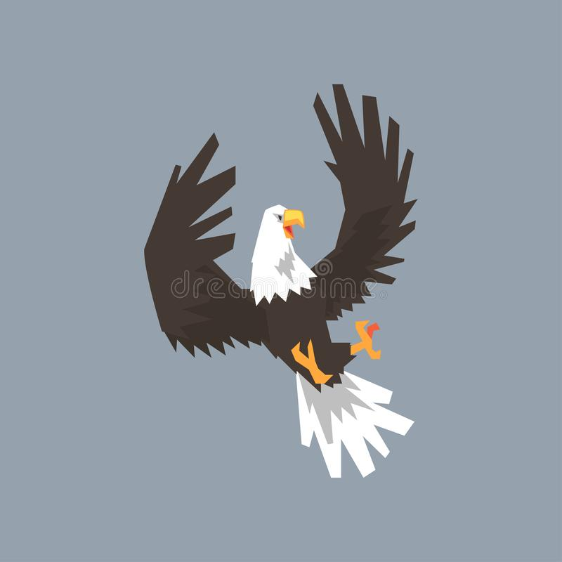 Североамериканское летание белоголового орлана и атаковать, символ иллюстрации вектора США иллюстрация штока