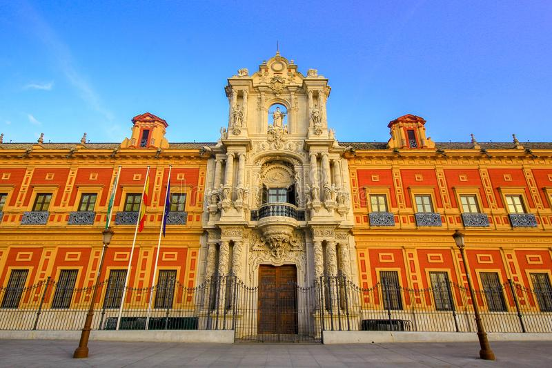 Севилья, Андалусия, Испания - 15-ое марта 2015 - дворец Сан Telmo Севилья стоковое фото rf