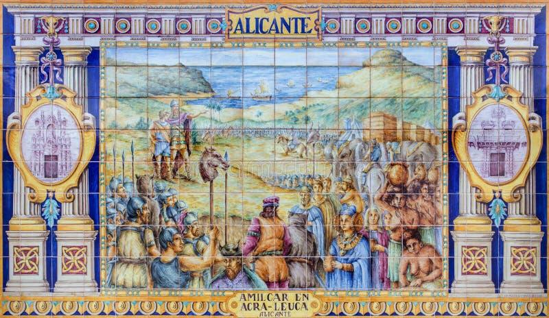 Севилья - Аликанте как одна из крыть черепицей черепицей 'беседк провинции' вдоль стен площади de Espana стоковая фотография rf
