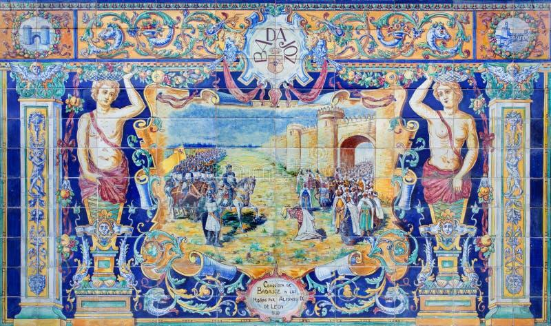 Севилья - Бадахос как одна из крыть черепицей черепицей 'беседк провинции' вдоль стен площади de Espana стоковое фото