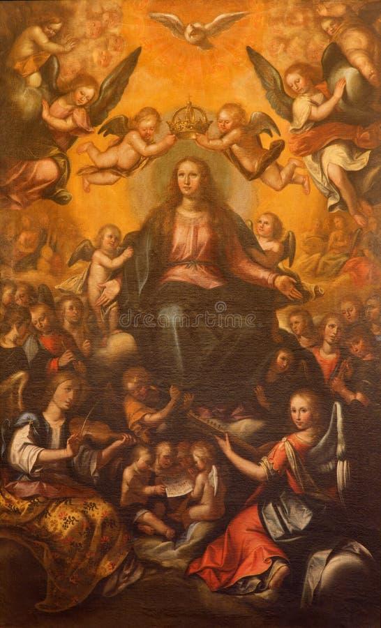 Севилья - коронование краски девой марии в церков Сальвадора (del Сальвадора Iglesia) неизвестным художником от Севильи стоковая фотография rf