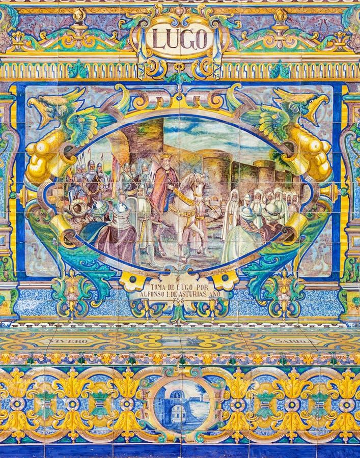Севилья - Луго как одна из крыть черепицей черепицей 'беседк провинции' вдоль стен площади de Espana стоковое фото
