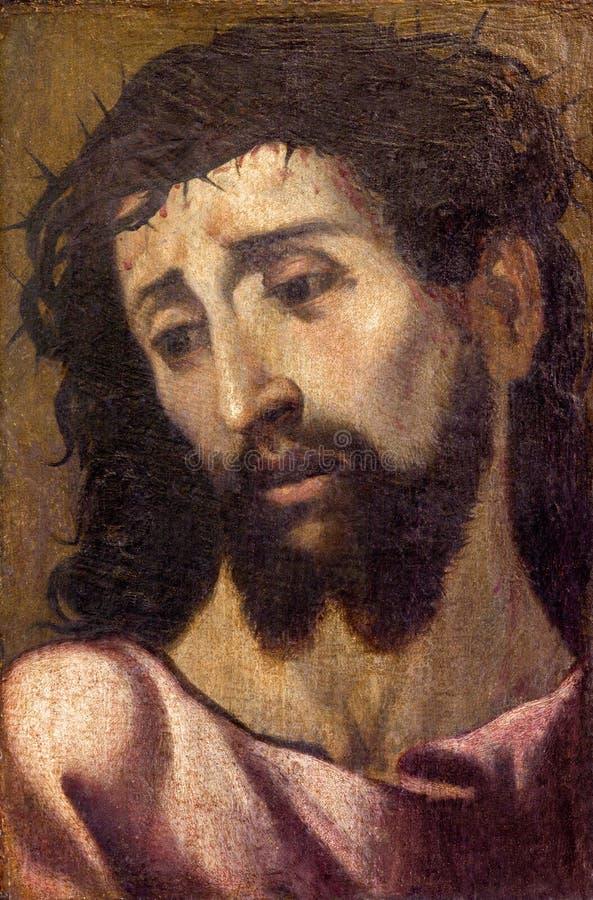 Севилья - меньший портрет изящного искусства Иисуса Христоса с кроной thons в церков Iglesia de Сан Roque стоковое фото rf