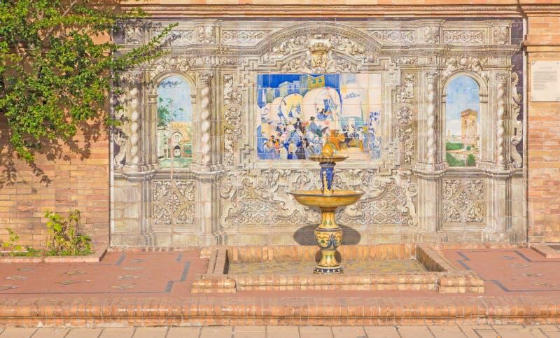 Севилья - одна часть крыть черепицей черепицей 'беседк провинции' вдоль стен площади de Espana стоковые фотографии rf