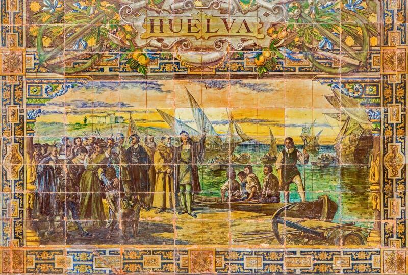 Севилья - Уэльва как одна из крыть черепицей черепицей 'беседк провинции' вдоль стен площади de Espana стоковые фото