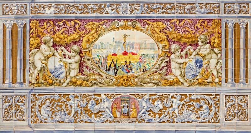 Севилья - шествие с перекрестной сценой как одна часть крыть черепицей черепицей 'беседк провинции' вдоль стен площади de Espana стоковые изображения