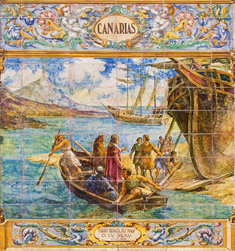 Севилья - Canarias как одна из крыть черепицей черепицей 'беседк провинции' вдоль стен площади de Espana стоковые изображения rf
