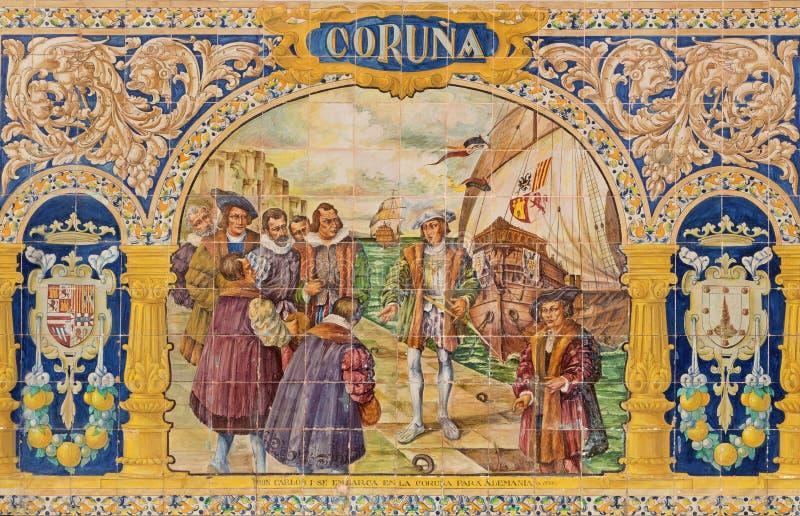Севилья - Coruna как одна из крыть черепицей черепицей 'беседк провинции' вдоль стен площади de Espana стоковые фото
