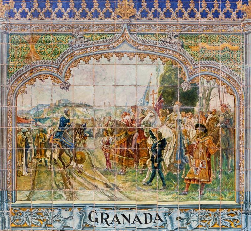 Севилья - Granda как одна из крыть черепицей черепицей 'беседк провинции' вдоль стен площади de Espana (1920s) Доминго Prida стоковое изображение rf