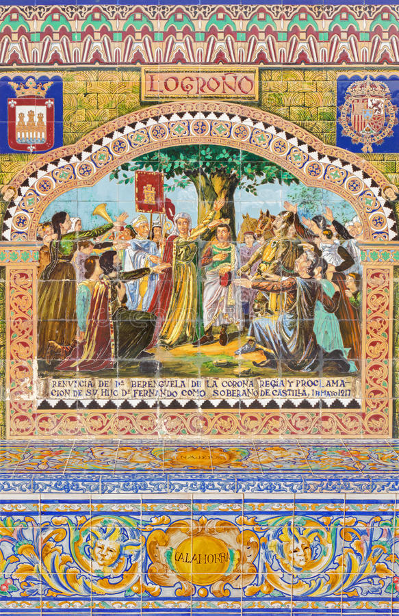 Севилья - Logrono как одна из крыть черепицей черепицей 'беседк провинции' вдоль стен площади de Espana стоковое изображение