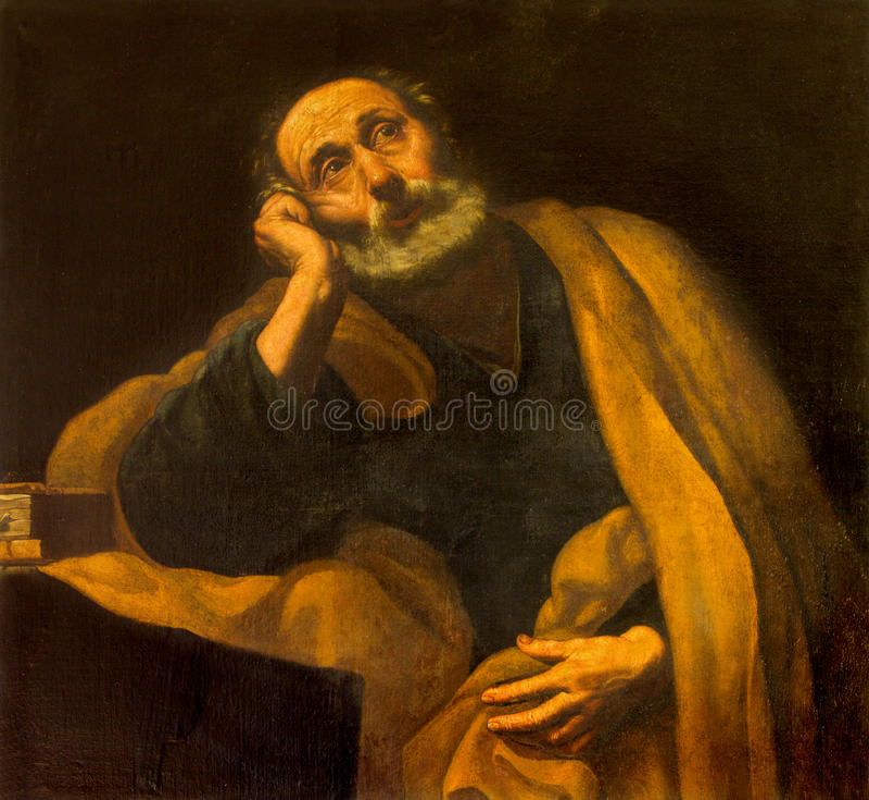 Севилья - St Peter апостол неизвестным художником школы в конце формы Севильи 17 цент в барочной церков Сальвадора стоковые фото