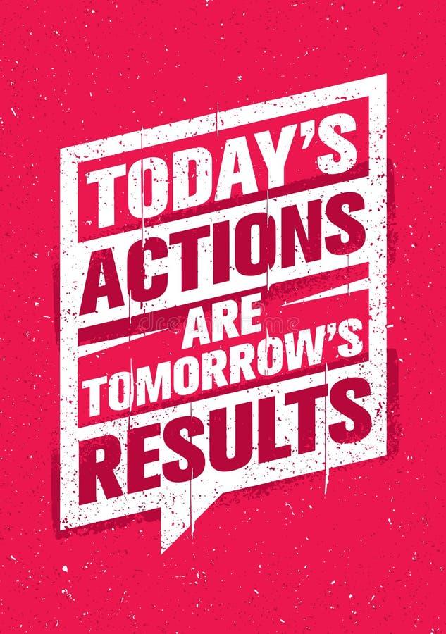 Сегодня действия завтра результаты Воодушевляя творческий шаблон цитаты мотивировки Дизайн знамени оформления вектора бесплатная иллюстрация