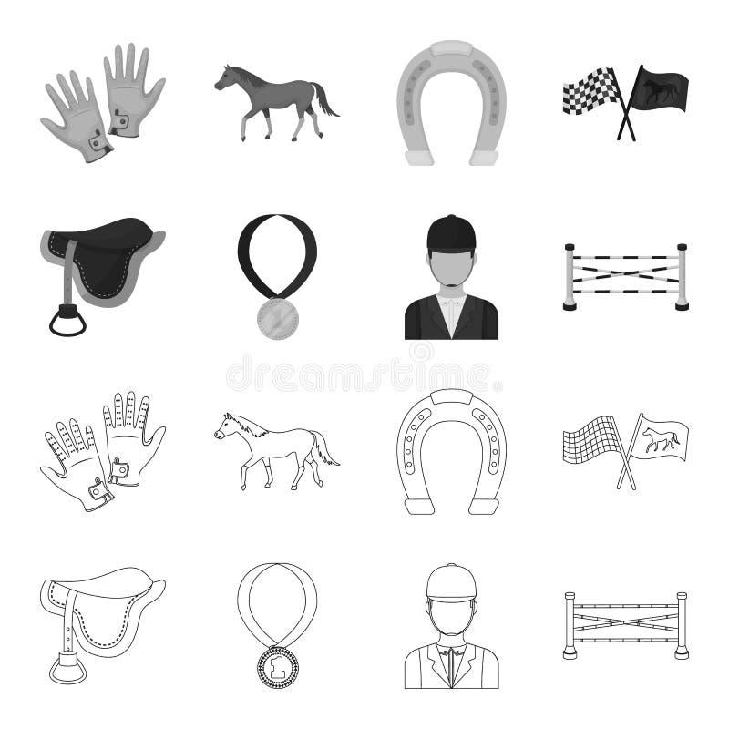 Седловина, медаль, чемпион, победитель Значки собрания Hippodrome и лошади установленные в плане, monochrome символе вектора стил бесплатная иллюстрация