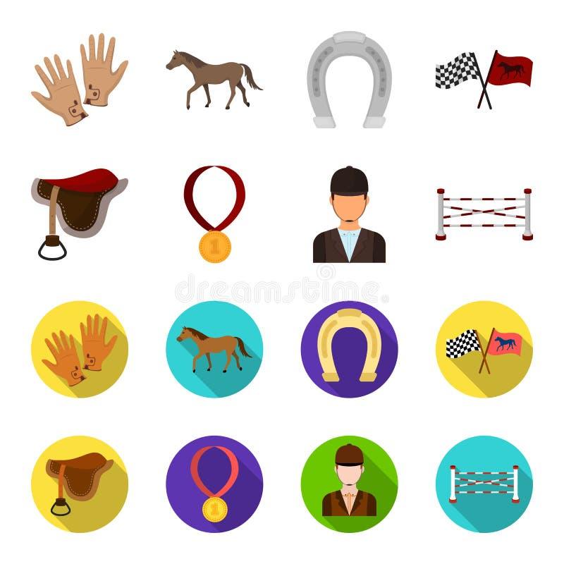 Седловина, медаль, чемпион, победитель Значки собрания Hippodrome и лошади установленные в шарже, плоском запасе символа вектора  иллюстрация вектора