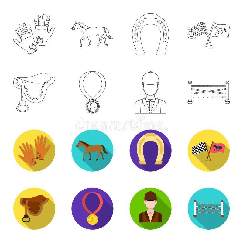 Седловина, медаль, чемпион, победитель Значки собрания Hippodrome и лошади установленные в плане, плоском запасе символа вектора  иллюстрация штока