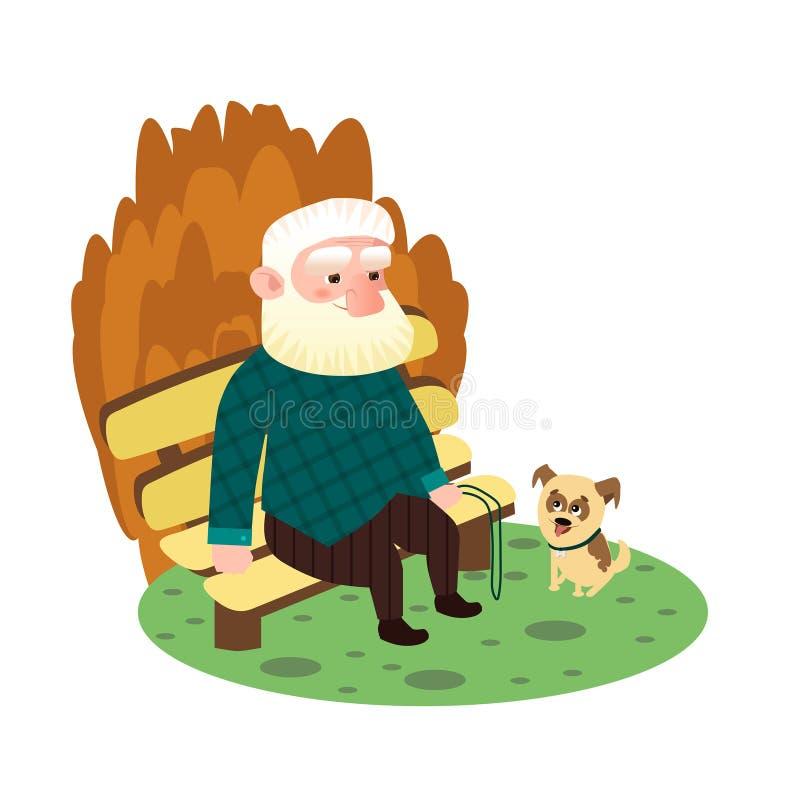 Седой дед сидя на стенде рядом с щенком бесплатная иллюстрация