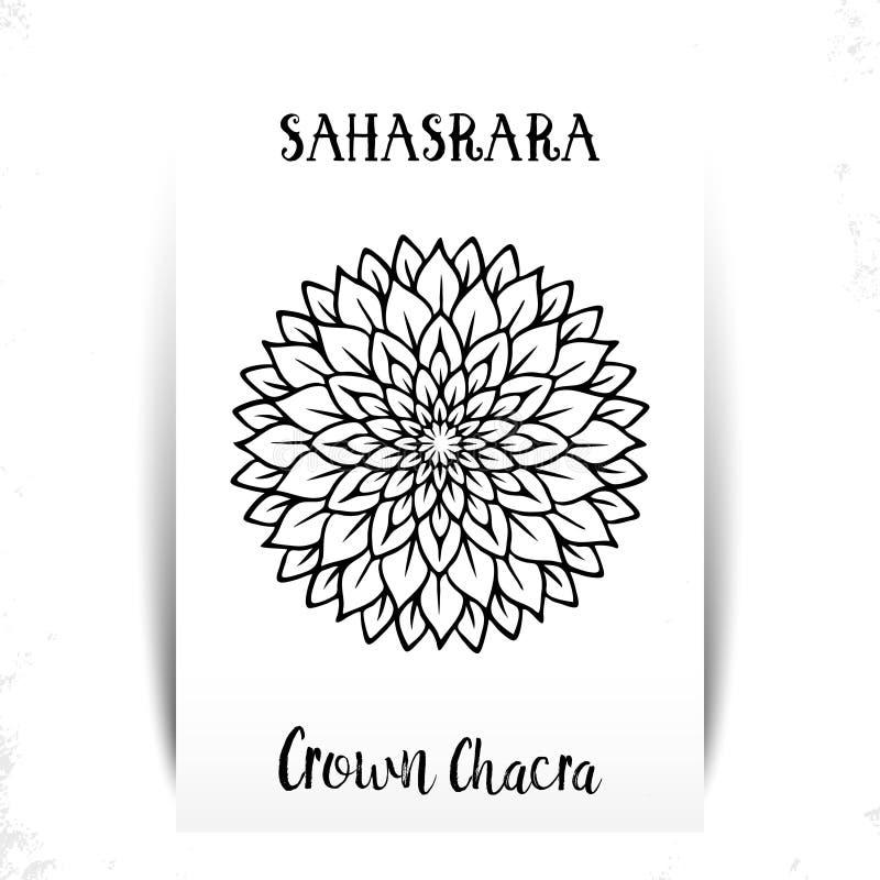 Седьмое, chakra кроны - Sahasrara Иллюстрация одного из 7 chakras Символ Индуизма, буддизма Фиолетовая акварель иллюстрация вектора