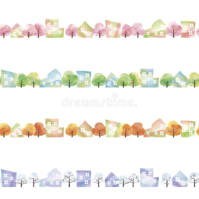 4 сезона городка иллюстрация вектора