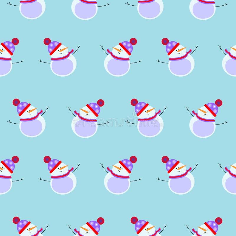 Сезонный свет зимы - голубая предпосылка с симметричными белыми снеговиками бесплатная иллюстрация