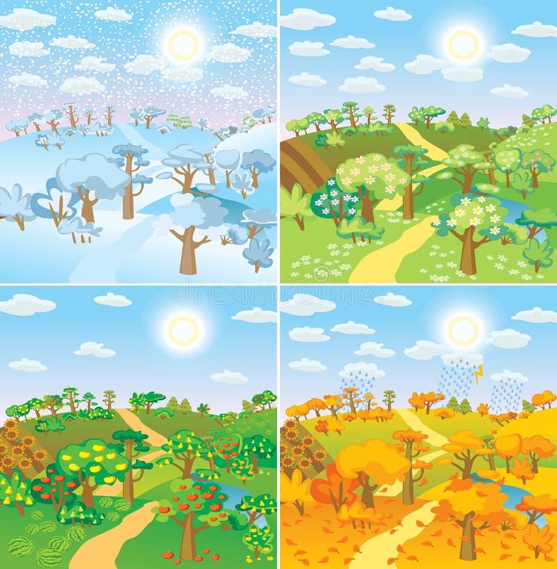 Сезоны в сельской местности иллюстрация вектора