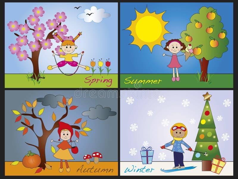 Сезоны иллюстрация вектора