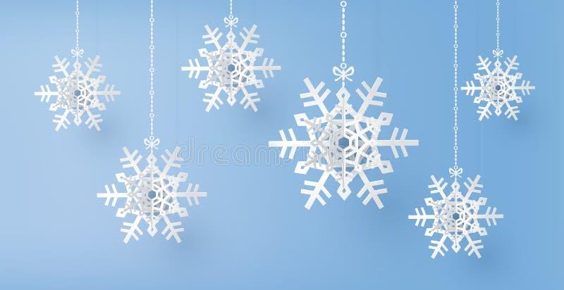 Сезон веселого рождества и зимы с бумажным отрезанным хлопь снега иллюстрация штока