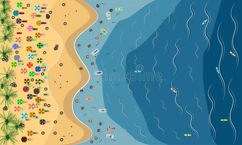 Сезон лета взгляд сверху много людей на пляже с кокосовыми пальмами мужское женское качание смешное в празднике моря голубого неб иллюстрация вектора