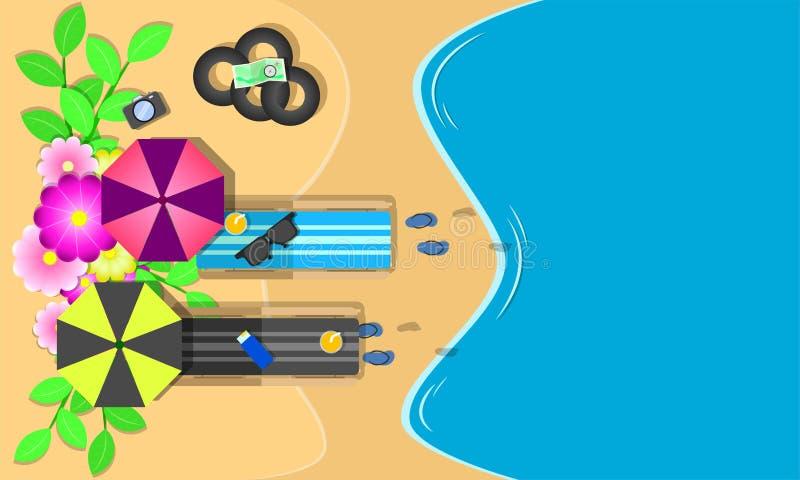 Сезон лета цветки стульев взгляда сверху плавают sunglass кольца на празднике моря голубого неба пляжа Иллюстрация EPS10 вектора иллюстрация вектора
