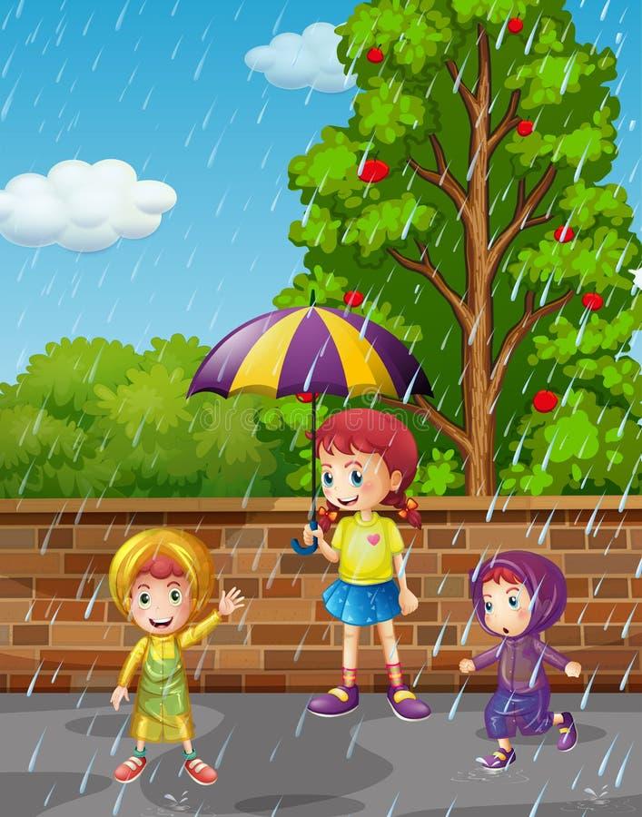 Сезон дождей с 3 детьми в дожде бесплатная иллюстрация